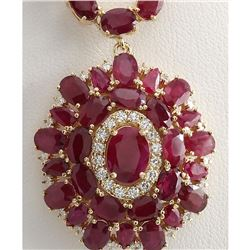 53.68 CTW Natural African Ruby And Diamond Necklace In 14K Yellow Gold