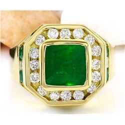 MENS 5.95 CTW Natural Emerald 14K Solid Yellow Gold Diamond Ring
