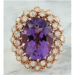 10.19 CTW Amethyst 18K Rose Gold Diamond Ring