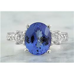 3.95 CTW Tanzanite 18K White Gold Diamond Ring