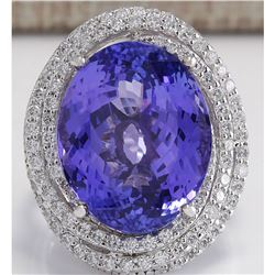 22.22 CTW Natural Blue Tanzanite And Diamond Ring In 14K White Gold