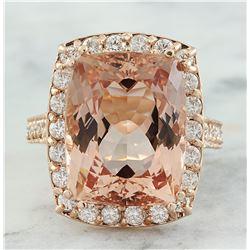 14.90 CTW Morganite 18K Rose Gold Diamond Ring