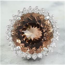 13.10 CTW Morganite 18K White Gold Diamond Ring