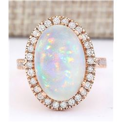7.92 CTW Natural Opal And Diamond Ring In 14k Rose Gold