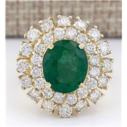 6.65 CTW Natural Emerald And Diamond Ring In 18K Yellow Gold