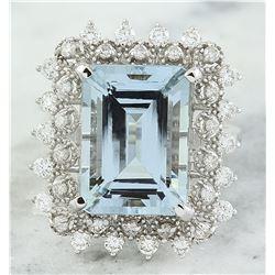 7.67 CTW Aquamarine 18K White Gold Diamond Ring