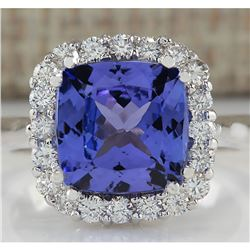 5.33 CTW Natural Blue Tanzanite And Diamond Ring 14K Solid White Gold