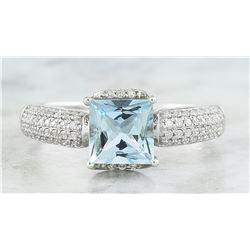 1.65 CTW Aquamarine 18K White Gold Diamond Ring