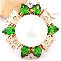 14.90 mm Gold South Sea Pearl, Tsavorite 14K Solid Rose Gold Diamond Ring
