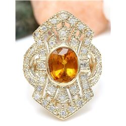 2.88 CTW Natural Sapphire 18K Solid Yellow Gold Diamond Ring