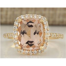 3.72 CTW Natural Morganite And Diamond Ring In 18K Solid Yellow Gold