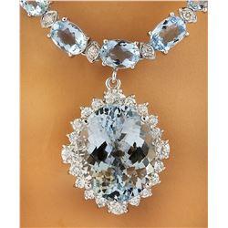 43.35 CTW Aquamarine 14K White Gold Diamond Necklace