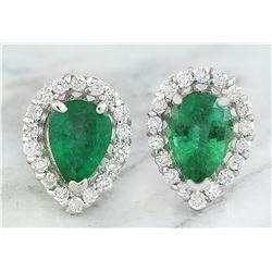 1.40 CTW Emerald 14K White Gold Diamond Earrings