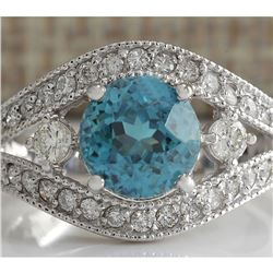 4.16 CTW Natural Blue Zircon And Diamond Ring 18K Solid White Gold