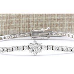 4.00 CTW Natural Diamond Bracelet In 18K Solid White Gold
