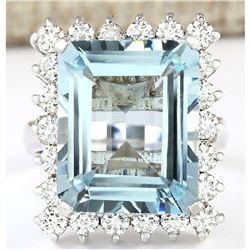 12.71 CTW Natural Aquamarine And Diamond Ring In 14K Solid White Gold