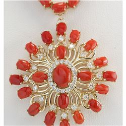 53.01 CTW Natural Red Coral And Diamond Necklace In 18K Yellow Gold
