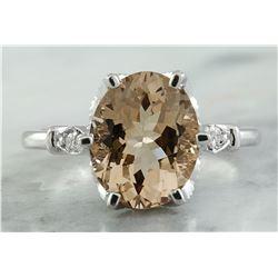 3.41 CTW Morganite 14K White Gold Diamond Ring