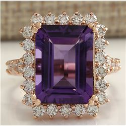 8.07 CTW Natural Amethyst And Diamond Ring In 18K Solid Rose Gold
