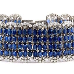 68.50 CTW Natural Sapphire 18K Solid White Gold Diamond Bracelet