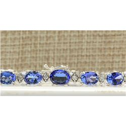 11.80 CTW Natural Tanzanite And Diamond Bracelet In 14k Solid White Gold