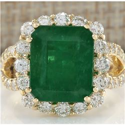 7.49 CTW Natural Colombian Emerald And Diamond Ring In 14K Yellow Gold