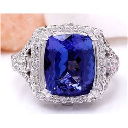 7.80 CTW Natural Tanzanite 18K Solid White Gold Diamond Ring