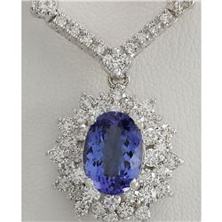 8.41 CTW Natural Tanzanite And Diamond Necklace In 14K White Gold