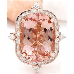 12.16 CTW Natural Morganite 14K Solid Rose Gold Diamond Ring