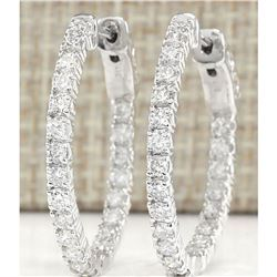 2.00 CTW Natural Diamond Hoop Earrings 18K Solid White Gold