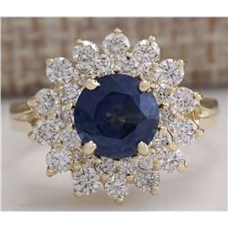 2.71 CTW Natural Blue Sapphire Diamond Ring 18K Solid Yellow Gold