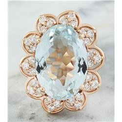 8.16 CTW Aquamarine 14K Rose Gold Diamond Ring