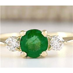 0.70 CTW Natural Emerald And Diamond Ring In 14k Yellow Gold