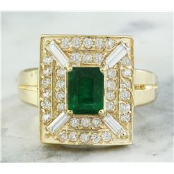2.40 CTW Emerald 14K Yellow Gold Diamond Ring