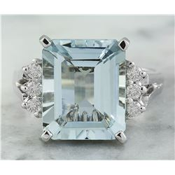 5.85 CTW Aquamarine 14K White Gold Diamond ring