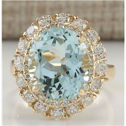 7.53 CTW Natural Aquamarine And Diamond Ring In 18K Solid Yellow Gold