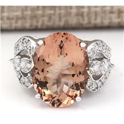 8.58 CTW Natural Morganite And Diamond Ring In 18K White Gold