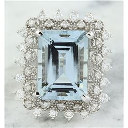 7.67 CTW Aquamarine 14K White Gold Diamond Ring