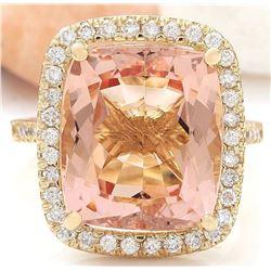 9.10 CTW Natural Morganite 18K Solid Yellow Gold Diamond Ring