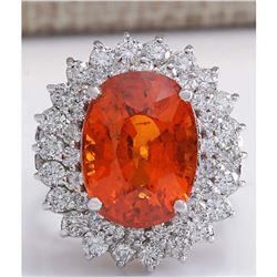 12.01 CTW Natural Mandarin Garnet And Diamond Ring 14K Solid White Gold
