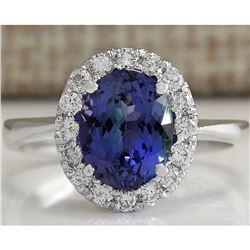 2.45 CTW Natural Tanzanite Diamond Ring 18K Solid White Gold
