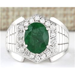 4.63 CTW Natural Emerald And Diamond Ring In 14k White Gold