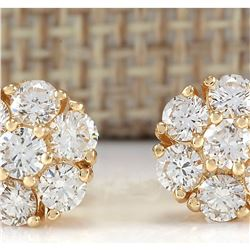 2.45 CTW Natural Diamond Earrings 18K Solid Yellow Gold