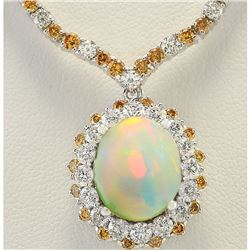 18.12 CTW Natural Opal And Diamond Necklace In 14k White Gold