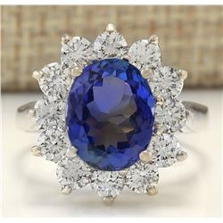 5.44 CTW Natural Tanzanite And Diamond Ring In 18K White Gold