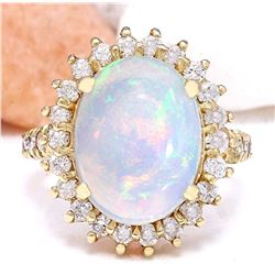 4.82 CTW Natural Opal 14K Solid Yellow Gold Diamond Ring