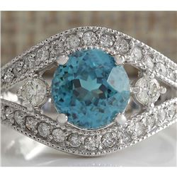 4.16 CTW Natural Blue Zircon And Diamond Ring 14K Solid White Gold