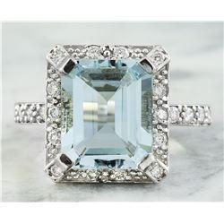 5.85 CTW Aquamarine 14K White Gold Diamond Ring