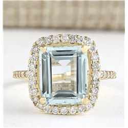 5.20 CTW Natural Blue Aquamarine And Diamond Ring In 18K Yellow Gold
