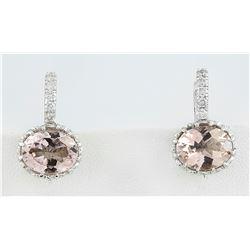 3.65 CTW Morganite 18K White Gold Diamond Earrings